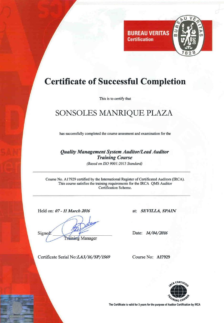 Certificado Sonsoles