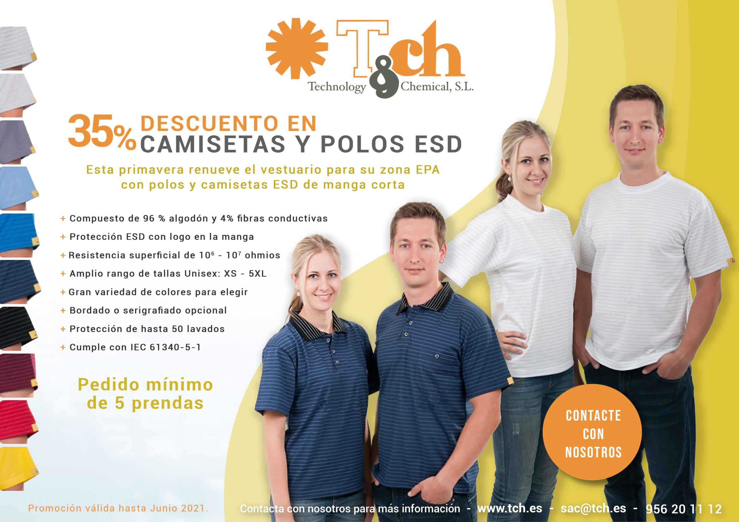 Promoción camisetas y polos ESD tch cleantex