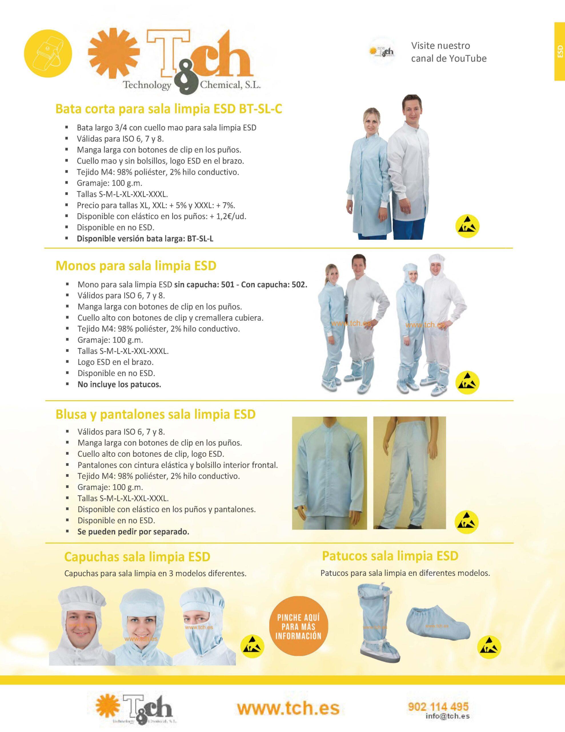 Catálogo ropa sala limpia esd  